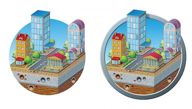 Ensemble d'aménagement en coupe d'un quartier résidentiel, présentation par un architecte: plusieurs bâtiments, arbres, fontaine, route, intersection, égout et évacuation des eaux souterraines