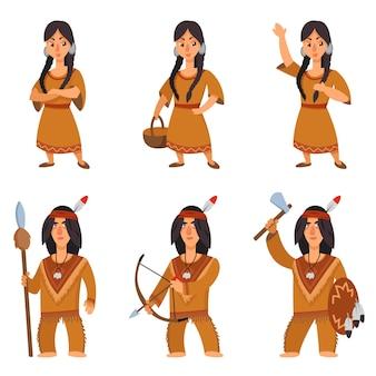 Ensemble d'amérindiens dans des poses différentes. personnages masculins et féminins en style cartoon.