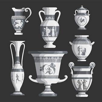 Ensemble d'amphores blanches grecques antiques