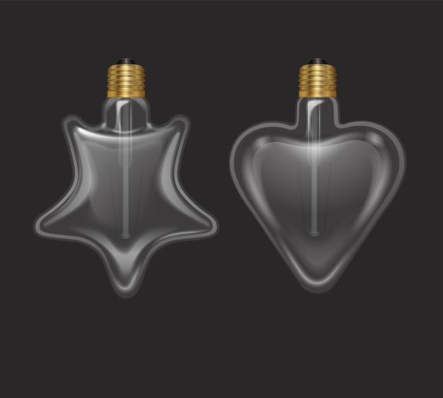 Ensemble d'ampoules réalistes en forme d'étoile et en forme de coeur dans une lampe de style rétro