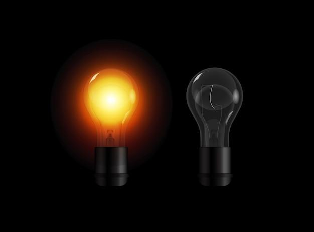 Ensemble d'ampoules transparentes réalistes