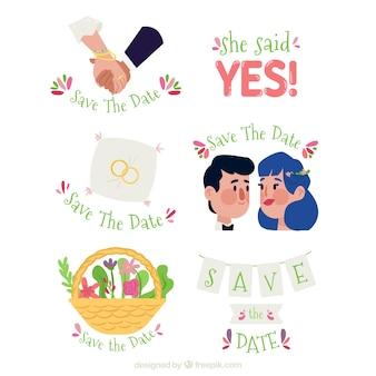 Ensemble amusant d'étiquettes de mariage plates