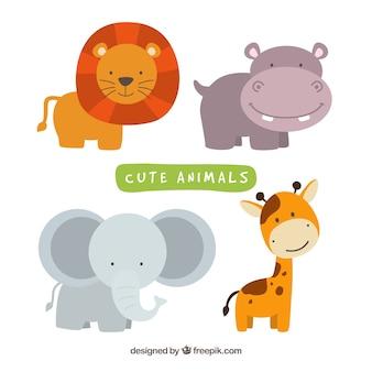 Ensemble amusant d'animaux sauvages souriants
