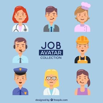 Ensemble amusant d'avatars de travailleur