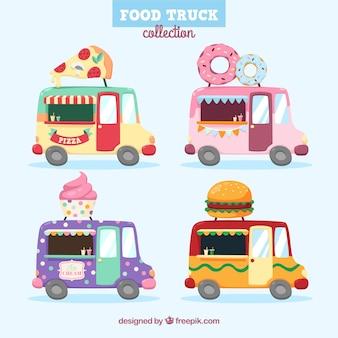 Ensemble amusant de camions alimentaires colorés