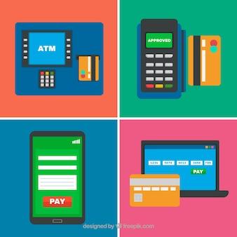 Ensemble amusant de carte de crédit et paiement en ligne
