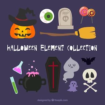 Ensemble amusant d'éléments de halloween