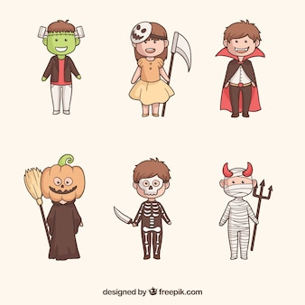 Ensemble amusant d'enfants effrayants d'halloween