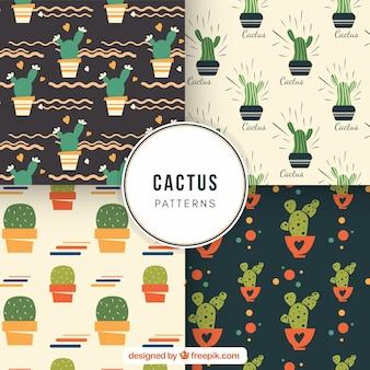 Ensemble amusant de jolis motifs de cactus