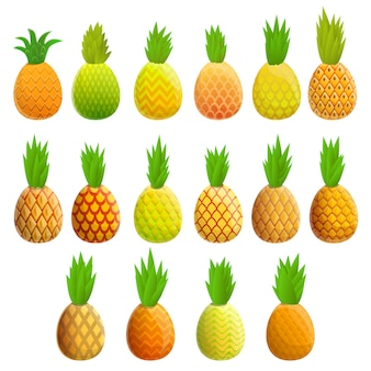 Ensemble d'ananas, style cartoon