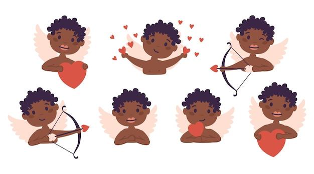 Ensemble d'anges de bébé afro-américain cupidon de l'amour