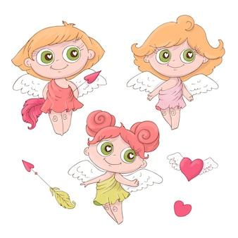Ensemble d anges de dessin animé mignon pour la saint-valentin
