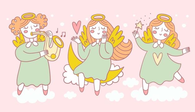 Ensemble d'anges mignons