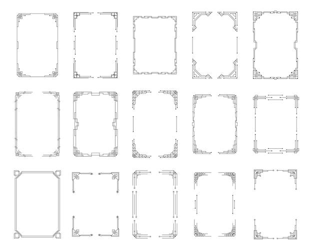 Ensemble d'angle art déco vintage. modèle géométrique noir dans le style des années 1920, coins artdeco pour les bordures et les cadres. invitation, éléments de tourbillon de voeux, illustrations à l'encre baroque.