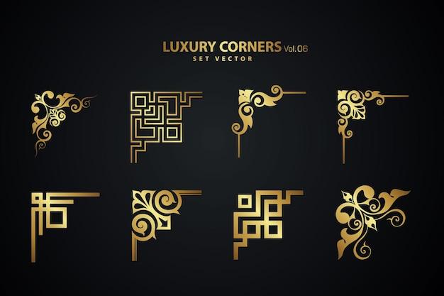 Ensemble d'angle de luxe art déco vintage. modèle géométrique pour les bordures et les cadres