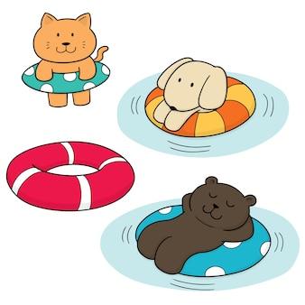 Ensemble d'animal et de bouée de sauvetage