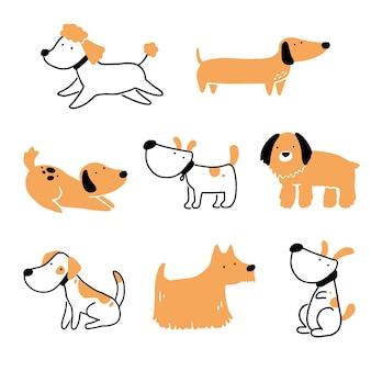 Ensemble d'animal de compagnie chien chiot mignon. collection de chien heureux et drôle. illustration de personnage animal de dessin animé.
