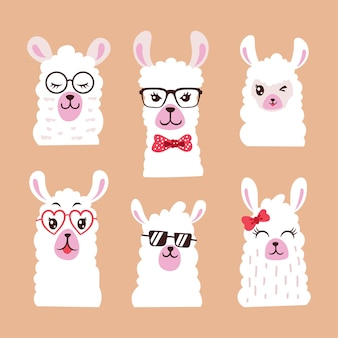 Ensemble d'animal de lama illustration avec des lunettes de soleil