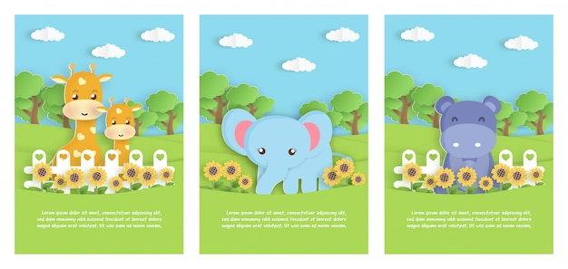 Ensemble d'animal de zoo avec éléphant, hippopotame et girafe dans le jardin pour carte de modèle d'anniversaire, carte postale. style de coupe de papier.