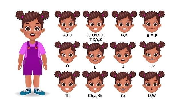 Ensemble d'animation de bouche de fille africaine et de prononciation d'alphabet