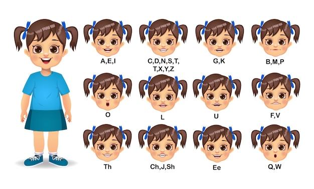 Ensemble d'animation de bouche de fille et de prononciation de l'alphabet