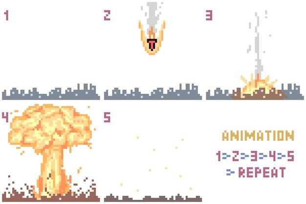 Ensemble d'animation nucléaire pixel art
