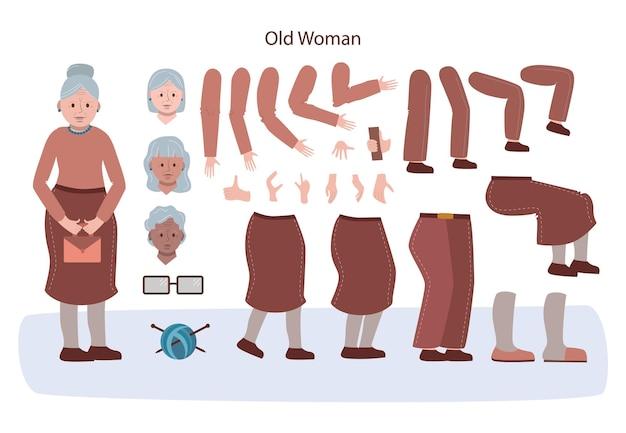 Ensemble d'animation de personnage senior. vieille femme avec divers points de vue, coiffures