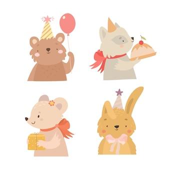 Ensemble d'animaux d'anniversaire