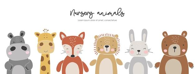 Ensemble d'animaux de bébé abstrait