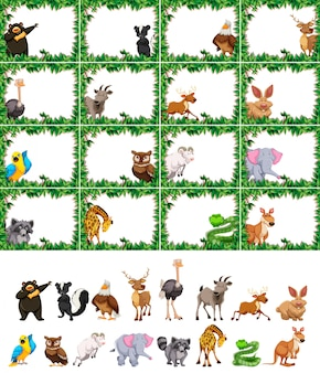 Ensemble d'animaux sur cadre nature