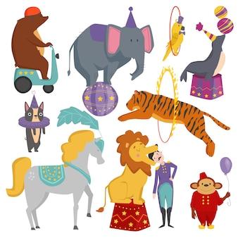 Ensemble d'animaux de cirque