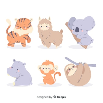 Ensemble d'animaux colorés dessinés à la main