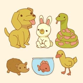 Ensemble d'animaux de compagnie smiley mignon