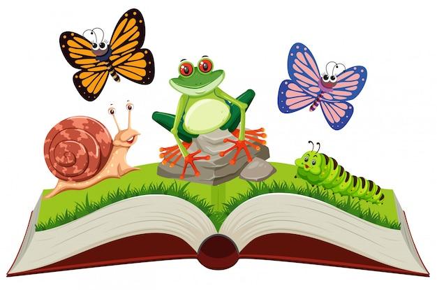 Ensemble d'animaux dans un livre pop-up