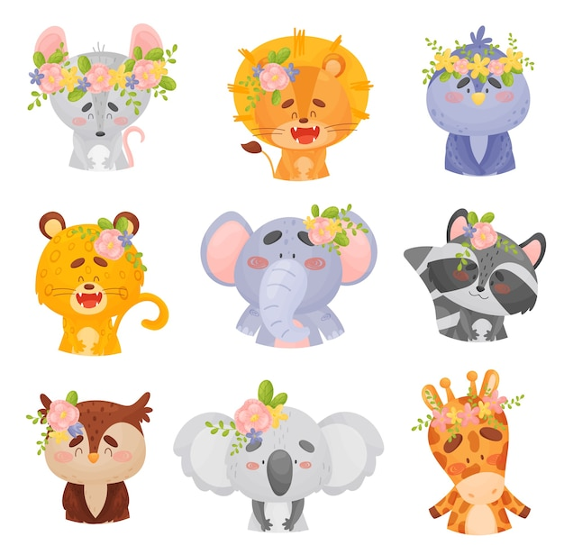 Ensemble d'animaux de dessin animé dans des couronnes
