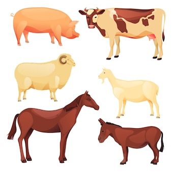 Ensemble d'animaux domestiques ou de ferme. icônes vectorielles de dessin animé de bélier, chèvre, vache, cheval, âne et cochon.