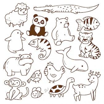 Ensemble d'animaux doodle isolé