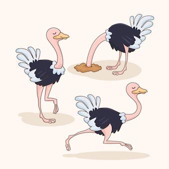 Ensemble d'animaux drôles de dessin animé d'autruche