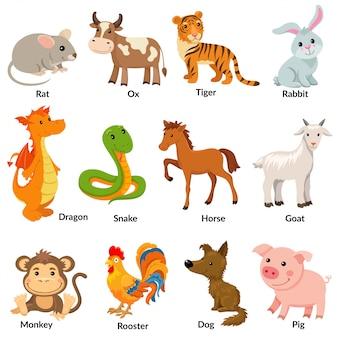 Ensemble d'animaux du zodiaque chinois.