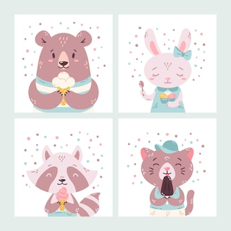 Ensemble d'animaux d'été de dessin animé drôle mignon. ours, lapin, raton laveur et chat mangeant de la crème glacée, léchant des sucettes glacées, cône.