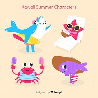 Ensemble d'animaux d'été kawaii