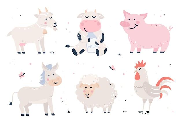 Ensemble d'animaux fores enfantins dessinés à la main