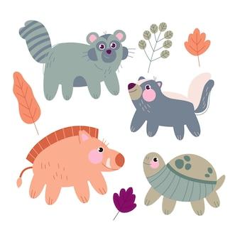 Ensemble d'animaux de la forêt d'automne dessinés à la main