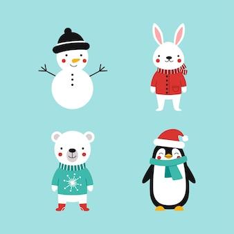 Ensemble d'animaux de la forêt de dessin animé mignon dans des vêtements chauds