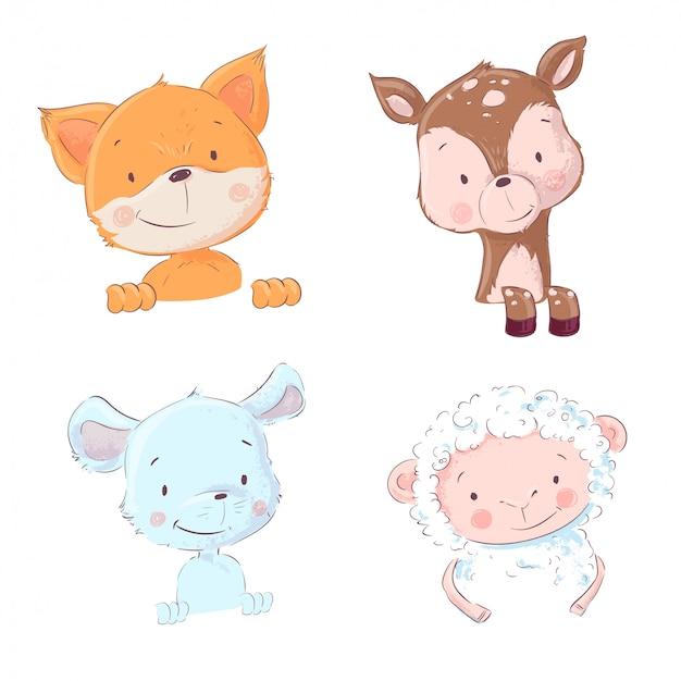 Ensemble d'animaux de la forêt et de la maison mignons - moutons et girolles, souris et cerfs