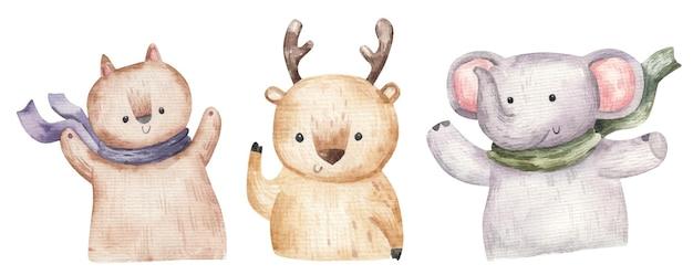 Ensemble d'animaux de la forêt mignons, illustration dessinée à la main, impression, design pour enfants