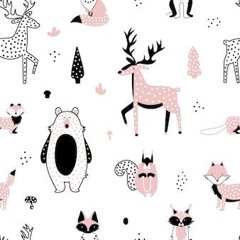 Ensemble d'animaux de la forêt mignons