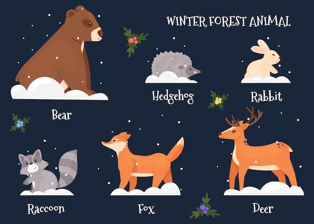 Ensemble d'animaux de la forêt