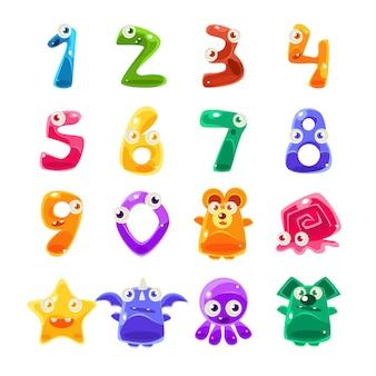 Ensemble d'animaux en forme de chiffres et de créatures en gelée
