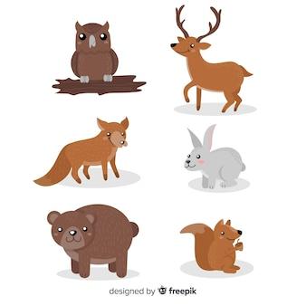 Ensemble d'animaux d'hiver